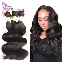 TOP PREMIUM HAIR Unprocessed Brazilian Virgin Hair 3 Bundles Body Wave Human Hair Cuticle Aligned Hair