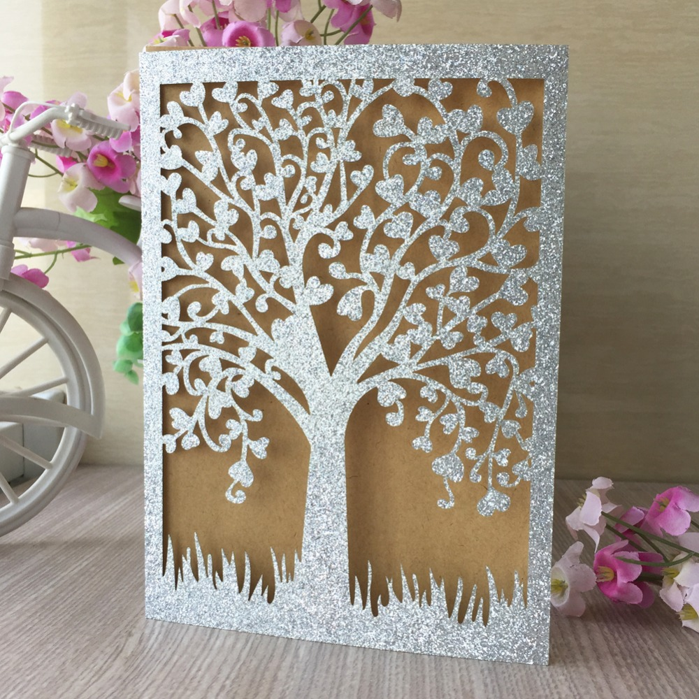 Wedding Invitations Cover: 30pcs/lot Shinny Invitation Card Cover Design Laser Cut
