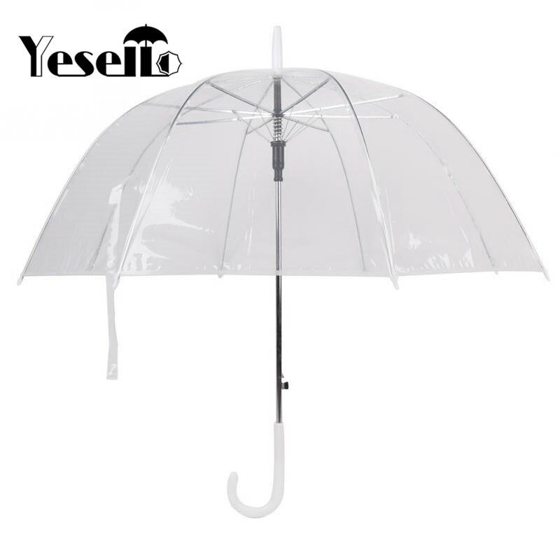 Yesello Kunststoff EVA Transparente Blätter Käfig Sunny Regenschirm Regen Regenschirm Sonnenschirm Frauen Halbautomatische Regenschirme Klar Paraguas