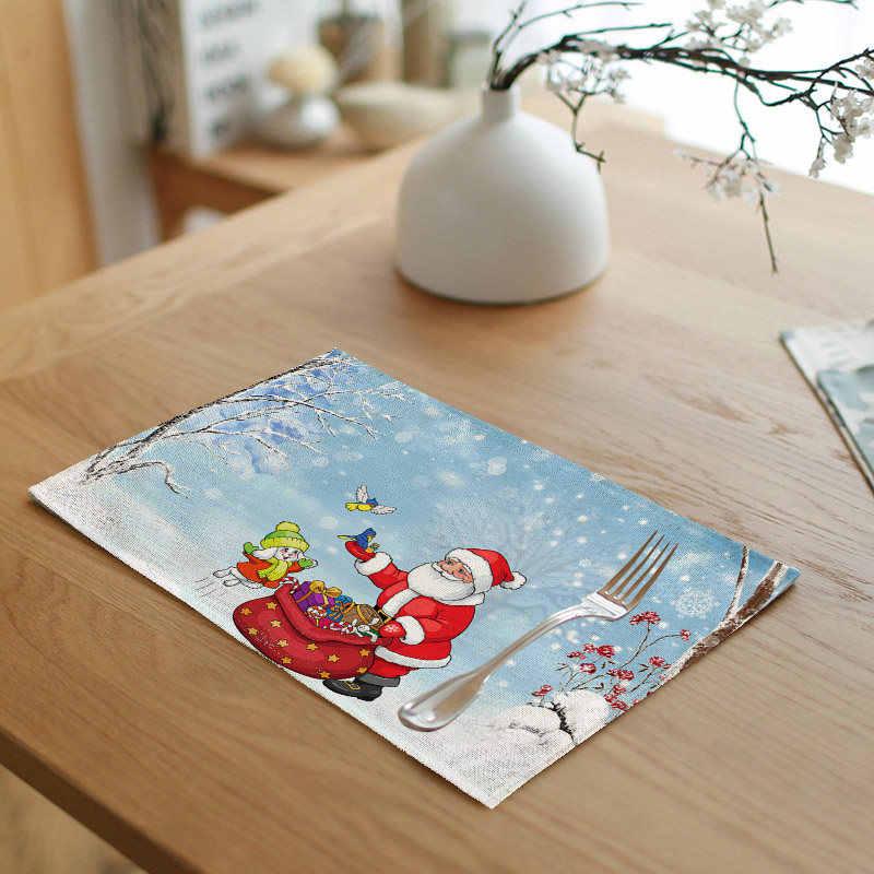 Alta calidad Navidad serie mantel ciervo árbol de Navidad restaurante sala de estar decoración servilleta Lino Año nuevo regalo tabla bandera