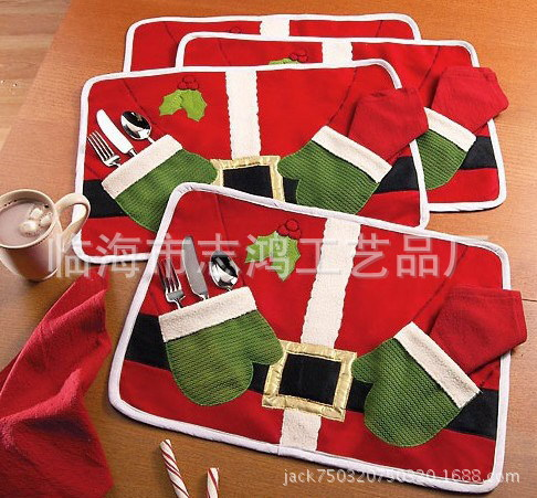 Hot Sale Christmas Decoration Red Christmas Table Mats Christmas Decorations For Home Double