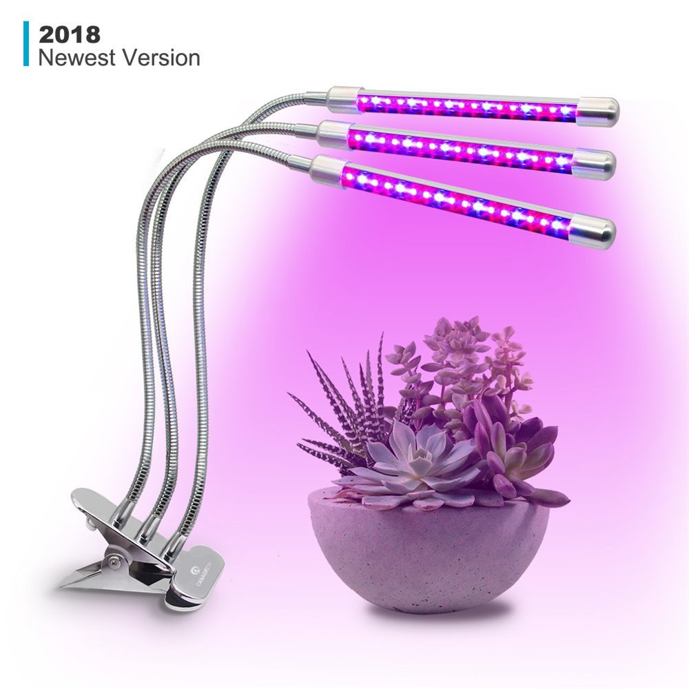 Dual 3 Head LED Grow Lamp 5W 10W 54W Desk Clip Plant Light with 360 Flexible Gooseneck for Indoor Home Office