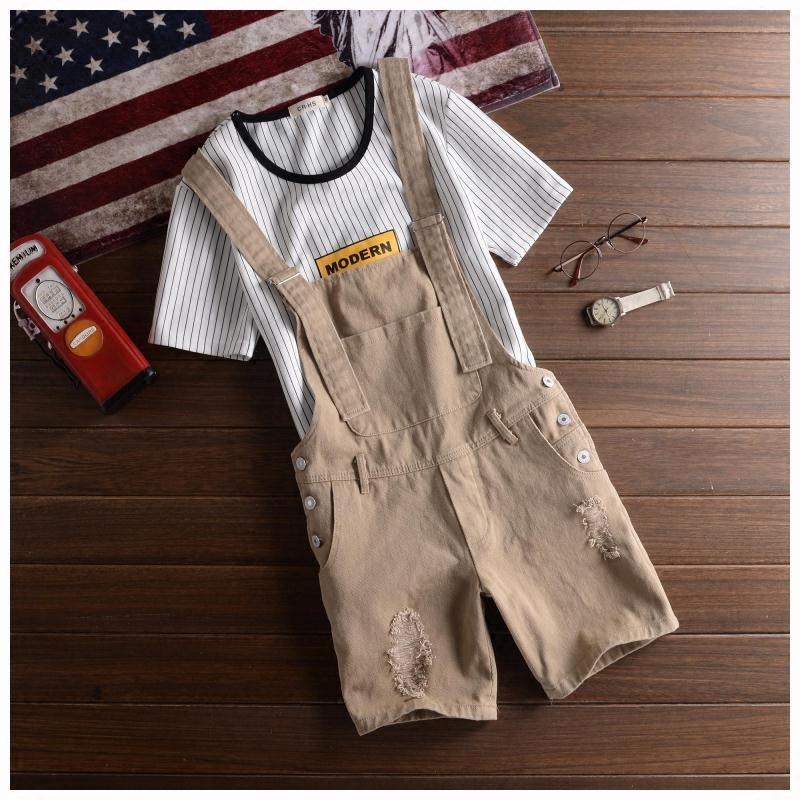 2018 Fashion Men's Bib Overalls Shorts Jeans Summer Style Ripped Jeans Pants For Men Slim Fit Black Jumpsuits Jean Shorts