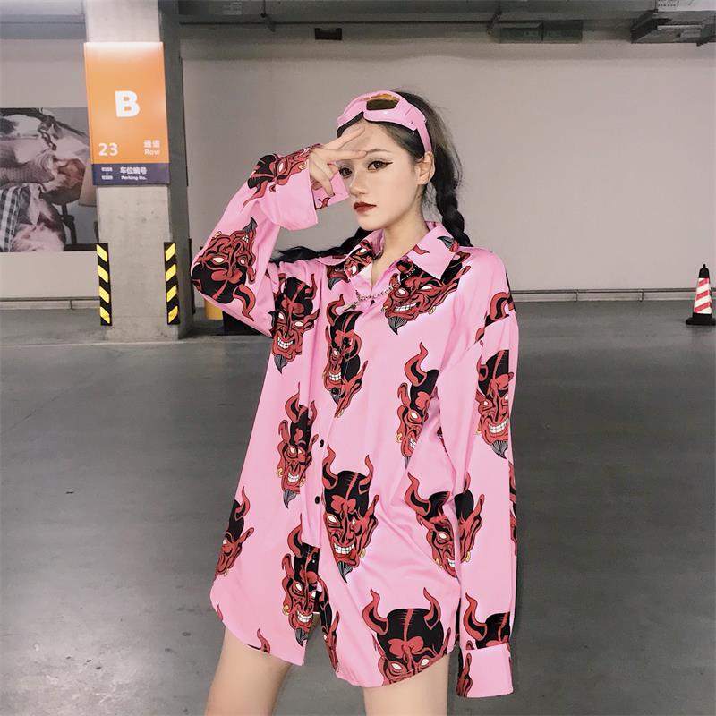 Lazy Ulzzang Harajuku Bf Loose Casual Demon Shirt Women's Shirts Girl Kawaii Retro Student Punk Harajuku Tunic For Women Top