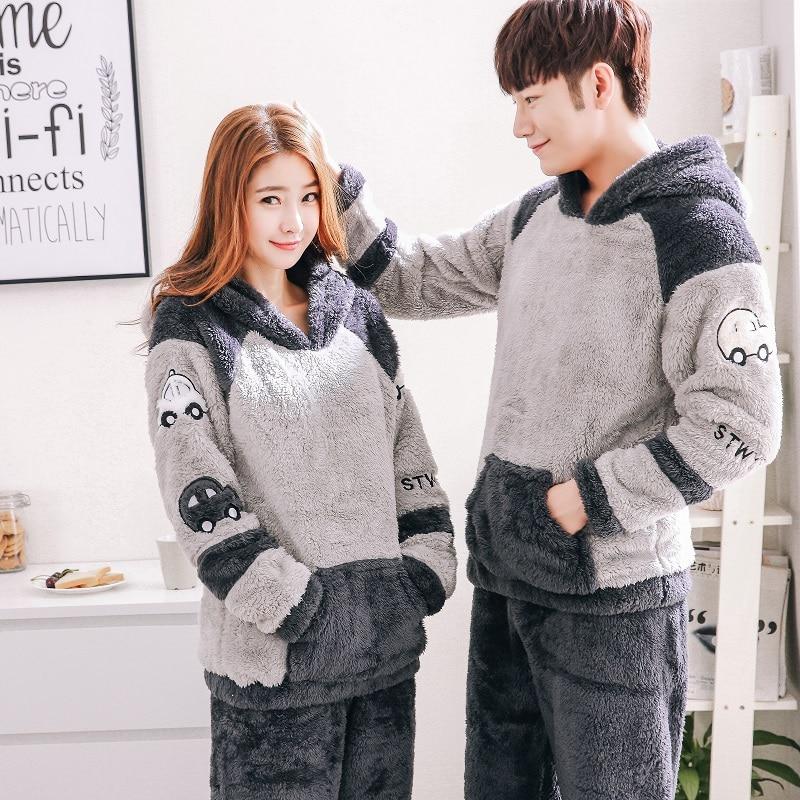 2019 Men's Thicken Warm Pajama Sets Couples Winter Soft Flannel Pijama Cars Printing Long Sleep Lounge Coral Velvet Women Pyjama