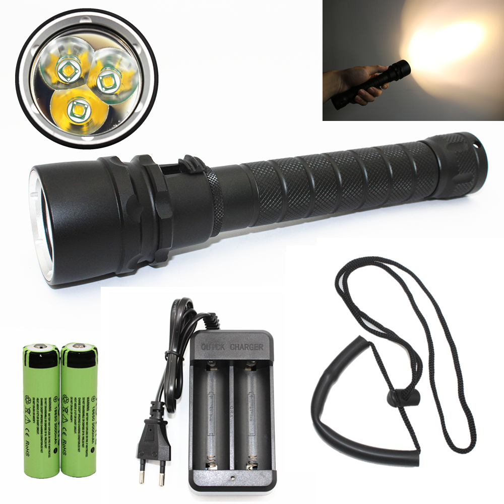 Waterproof Tactical Diving light Diving flashlight Yellow light 3x T6 LED Underwater hunting lanterna + 18650 Battery + Charger