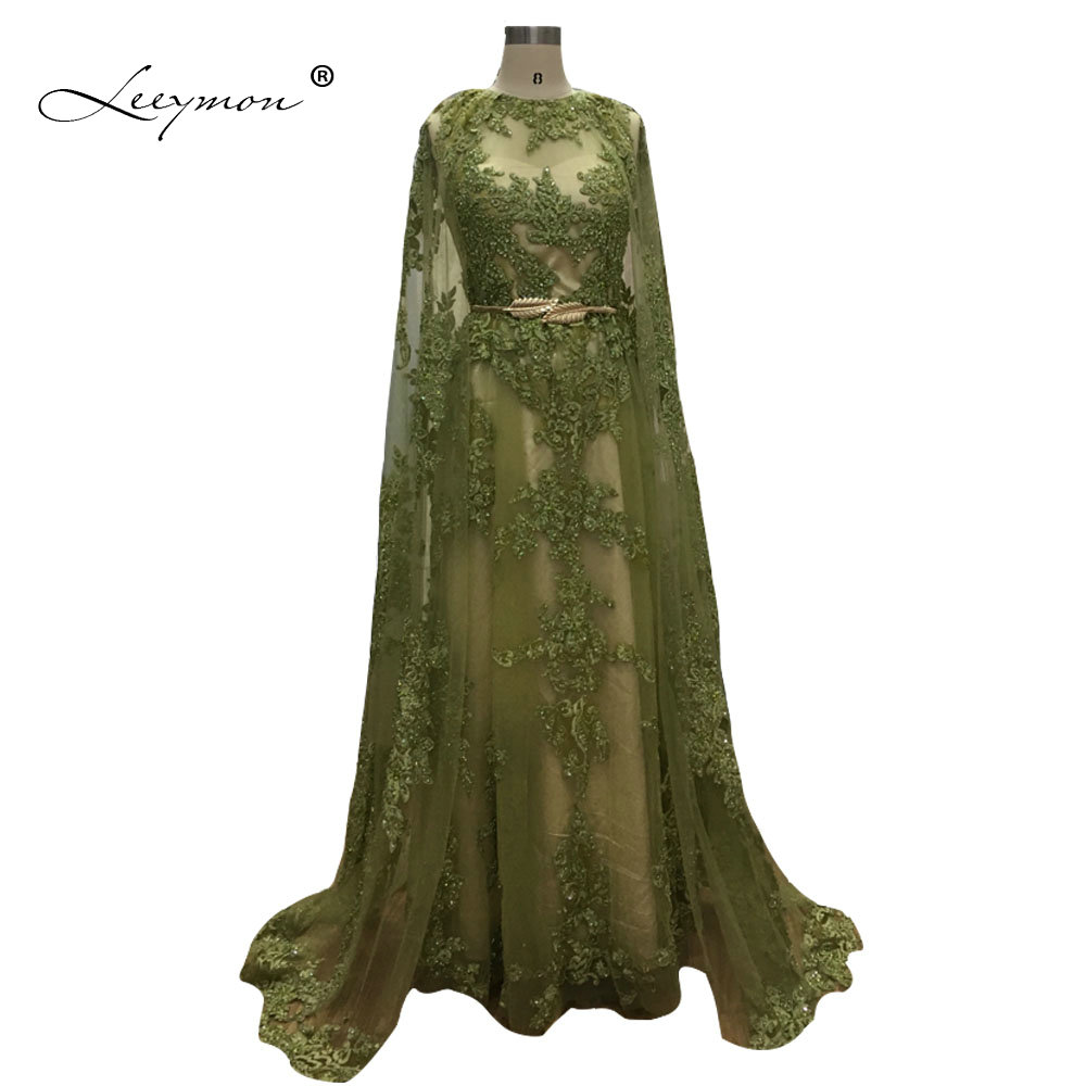 Leeymon A-line Lace Gold Belt   Evening     Dress   Long   Evening   Gown with Cape Sleeveless Vestido De Festa Floor-Length