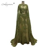 Leeymon A line Lace Gold Belt Evening Dress Long Evening Gown with Cape Sleeveless Vestido De Festa Floor Length
