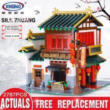 Xingbao 01001 2787 шт. творческий Китайский Стиль китайский шелк и Атлас магазине установить учебный корпус Блоки кирпичи Игрушки модель