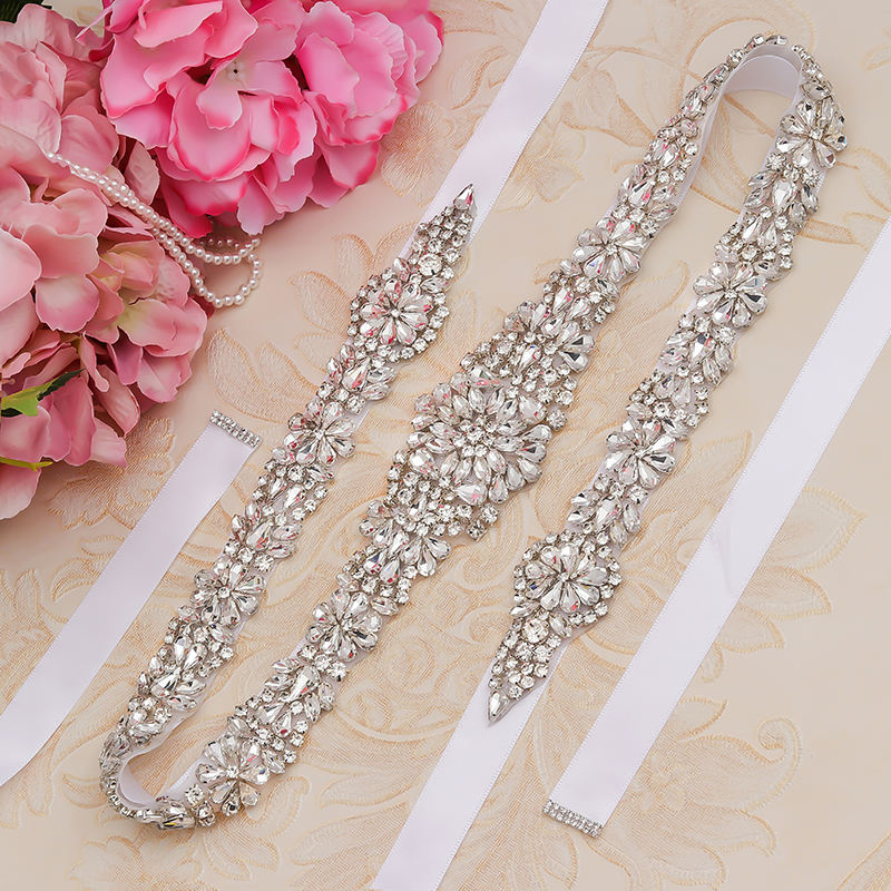 MissRDress Silver Diamond Wedding Belt 31inch Crystal Bridal Sash Rhinestones Bridal Belt For Wedding Accessories  JK854