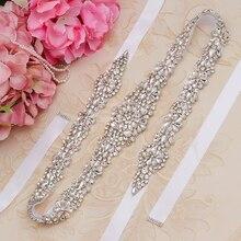 Missrdress prata diamante cinto de casamento 31 polegada cristal faixa nupcial strass cinto para acessórios de casamento jk854
