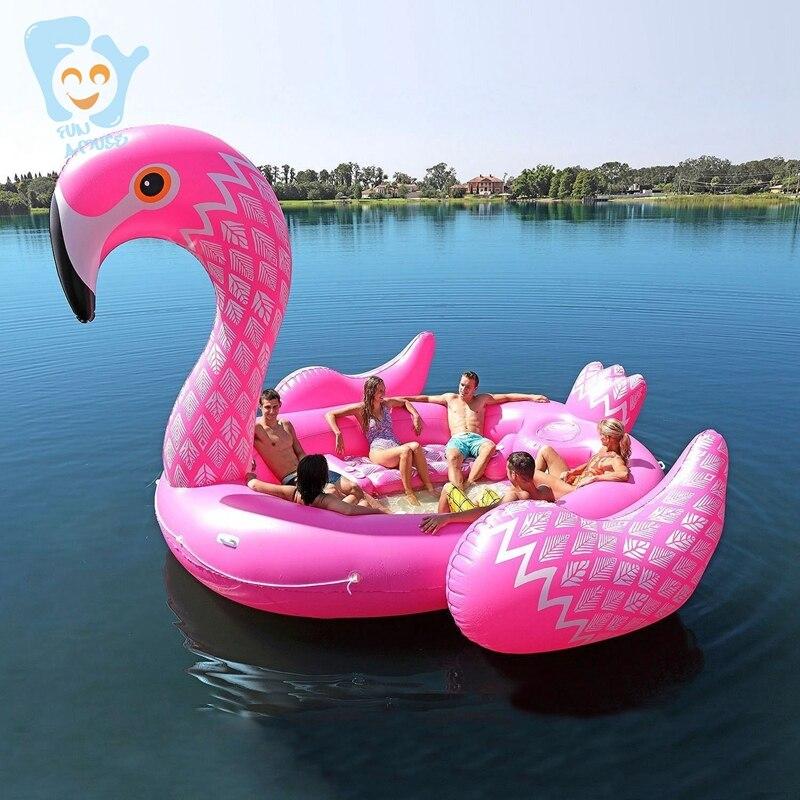 6 7 personne gonflable géant rose flamant piscine flotteur grand lac flotteur gonflable île eau jouets piscine amusement radeau