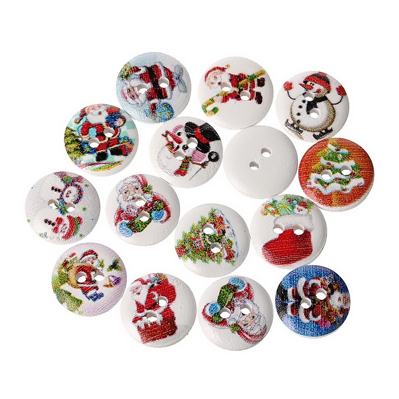 100 Mixed Christmas Santa Claus Snowman Pine Round Flatback Wood Sewing Buttons 2 Holes For Scrapbook Crafts Clothing Coat 15mm