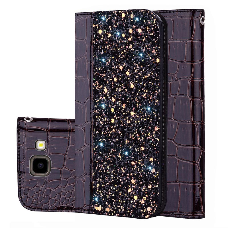 Glitter Case for Samsung Galaxy J4 2018 Crocodile Leather Wallet Flip Cover for Coque Samsung Galaxy J4 Plus 2018 J4+ Phone Case