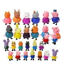 25 pçs/set Family Pack Mãe Pai Peppa pig George Pelucia Anime Brinquedos Figura de Ação Original do presente