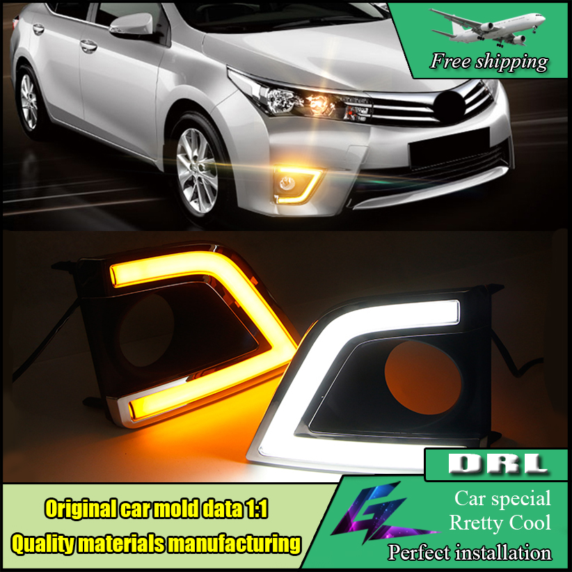 Car Styling LED DRL For Toyota Corolla Altis 2014 2015 Car LED Daytime Running Light Fog Lamp Frame Auto Day Driving Lamp DRL 2x auto car styling daytime running head light drl white led driving fog lamp fit for 2014 mazda 3 axela exterior accessories