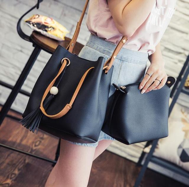 Из двух частей Ведро Женская сумка 2016 Новая Мода Высокого качества PU кожаные Сумки С Бахромой Плеча сумку Картина Женщины Сумка