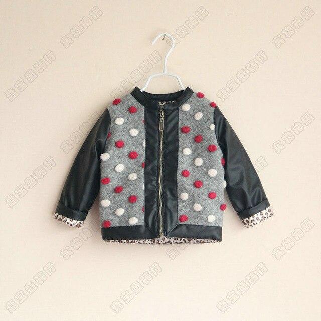 Новые Детские пальто Мальчики девочки Красочные точка пальто куртки печати Леопарда подкладка PU детская одежда оптом