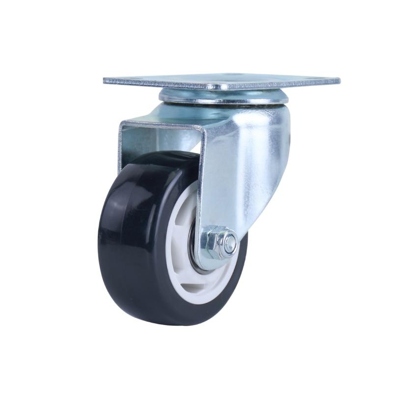 1pcs 3 Inch Furniture Swivel Flat Panel Pu Casters Office Chair Swivel Caster Wheel Metal Heavy