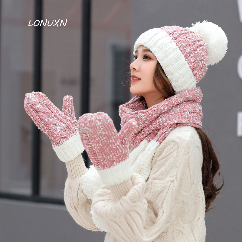 7 Colors High Quality Korean Fashion Winter Stitching Color Women Hat + Scarf + Gloves Keep Warm Knitting Hairball Leisure Wild