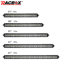 Single Row LED Work Light Bar 100W 120W 150W 200W 250W Offroad Lamps 21 26 31 41 51'' Headlights For Automobile ATV SUV 4WD MPV