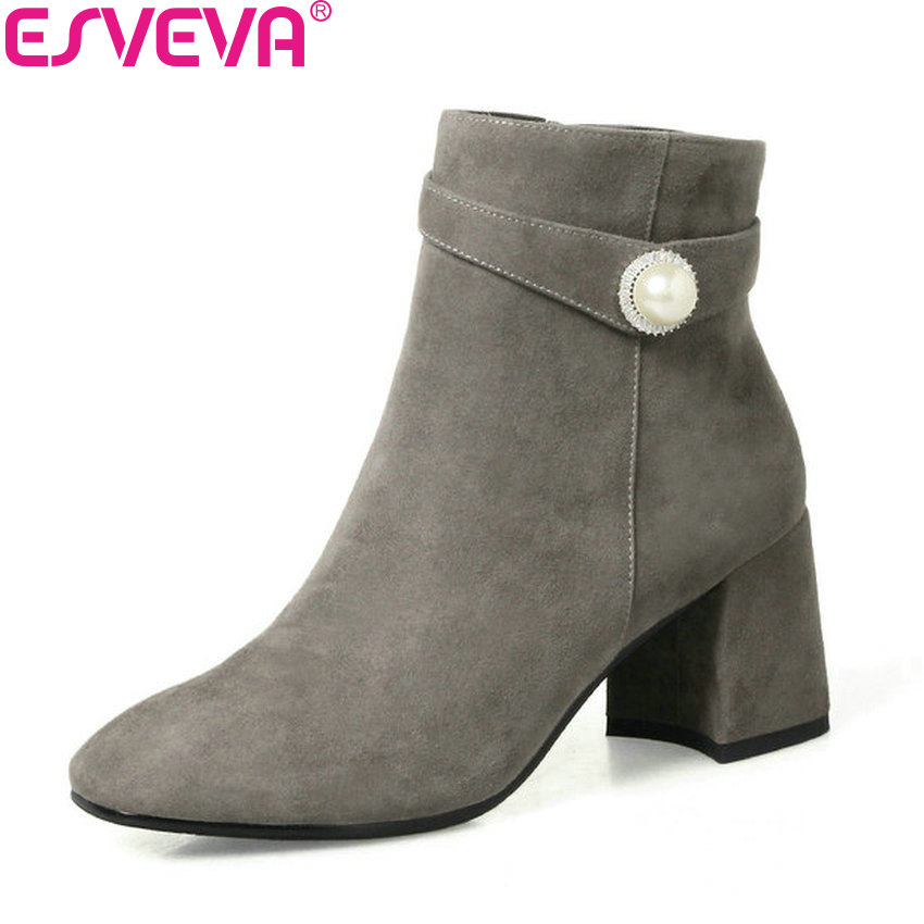 ESVEVA 2018 Women Boots Square High Heels Beading Ankle Boots Round Toe Short Boots Fashion Zippers Ladies Boots Size 34-42 esveva 2016 sequined platform women boots autumn fashion boots wedges high heel leisure round toe ladies ankle boot size 34 39