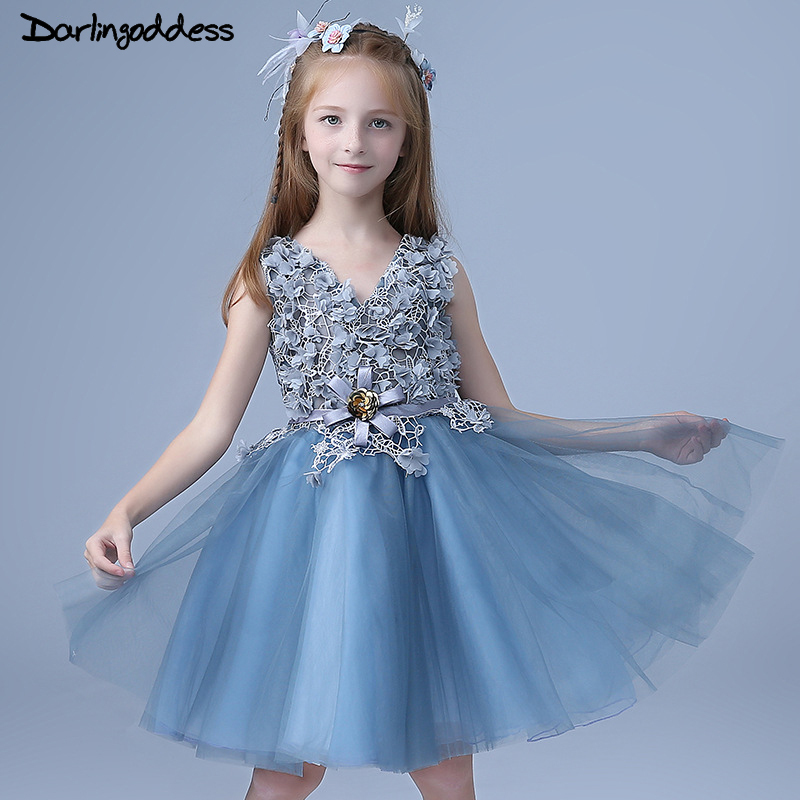 Luxury Lace Flower Girl Dresses Baby Pageant Birthday Party Dress V Neck Tulle First Communion Gown Blue Flower Girls Dress 2018