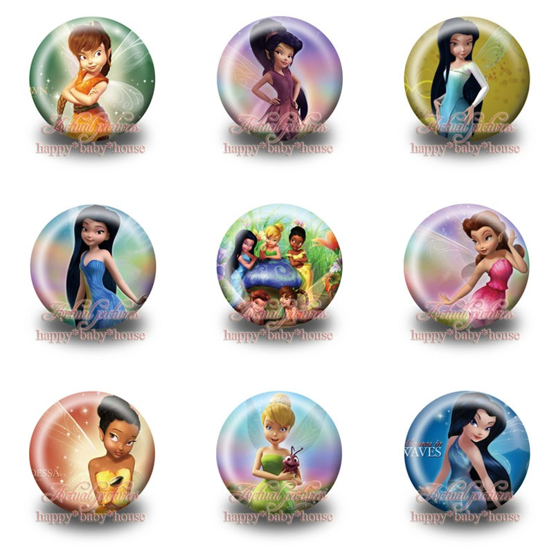 Hot 45pcs Tinker Bell Cartoon Buttons Pins Badges Novelty Round Badges,30mm Diameter,accessories For Clothing/bags,girls Gifts Consumers First Luggage & Bags