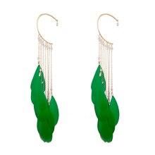 купить Fashion Big Feather Christmas Long Tassel Ear Cuff Gold Clip Earrings For Women Without Piercing Jewelry Bijoux Za Earings 2018 дешево
