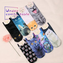 Summer Fashion Kawaii 3D Pussy Cat Printed Women Short Sock Lovely Personality Girls Intimates