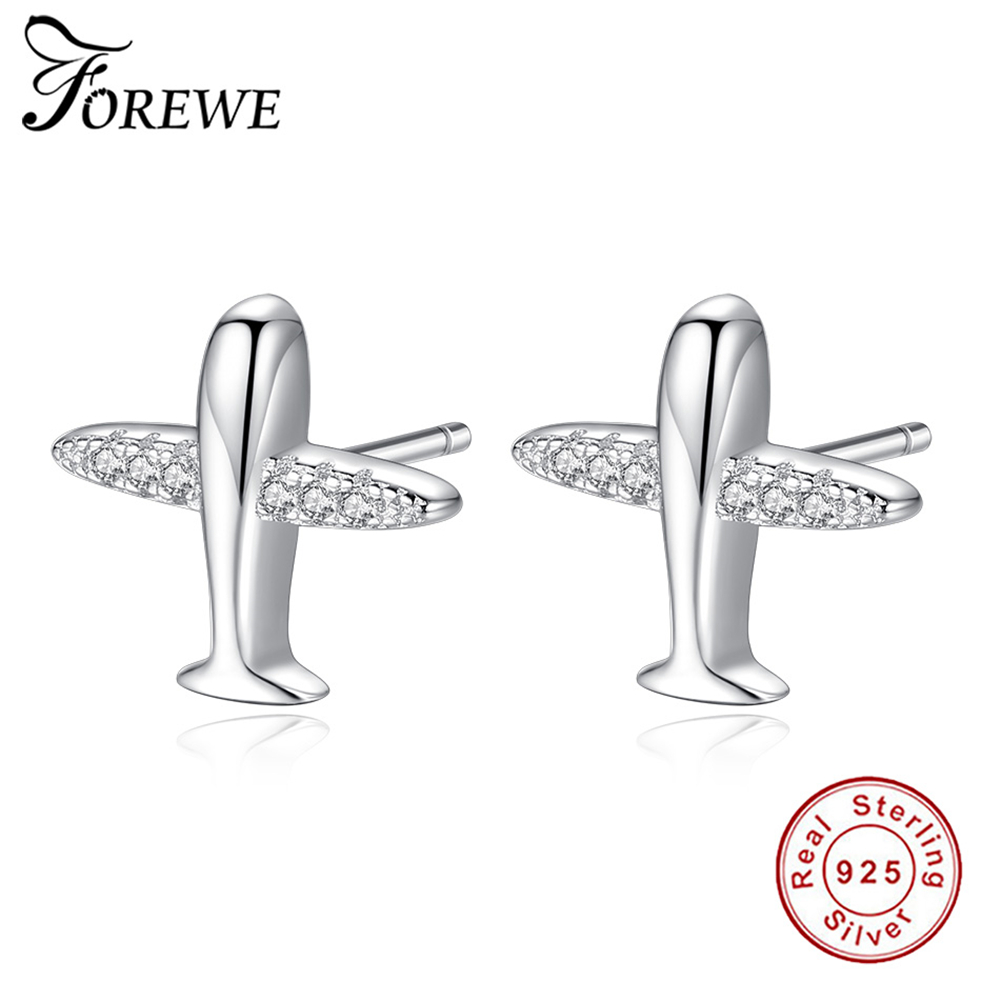 FOREWE 100% 925 Sterling Silver Small Airplane Stud Earrings for Women Simple Clear CZ Crystal Aircraft Earrings Fine Jewelry image