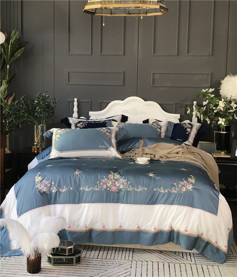 Silky Egyptian cotton green blue luxury bedding set queen king size duvet cover bedsheet set embroidery beddingsets pillowcase