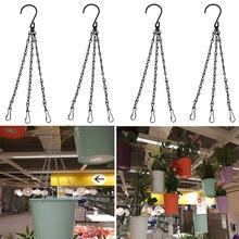 5Pcs Flower Pot Hanging Chain Basket Flower Pot 3 Point Garden Plant Hanger with Hooks HVR88