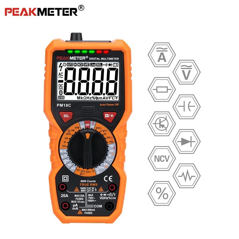 PEAKMETER PM18C Digital Multimeter with True RMS AC/DC Voltage Resistance Capacitance Frequency Temperature NCV TesterPEAKMETER PM18C Digital Multimeter with True RMS AC/DC Voltage Resistance Capacitance Frequency Temperature NCV Tester