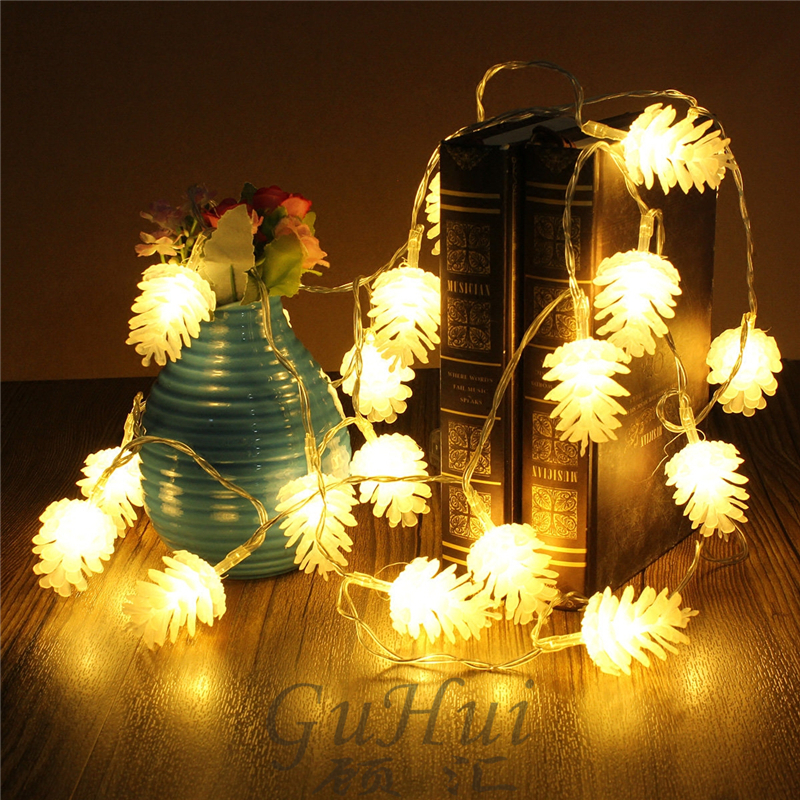Us 8 84 41 Off Novelty Holiday Light Fairy Pine Cones String Lights Battery Operated Outdoor Party Xmas Ornament Rustic Wedding Decoration In Glow