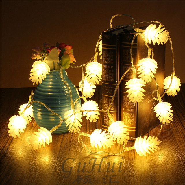 Novelty Holiday Light Fairy Pine Cones String Lights Battery Operated Outdoor Party Xmas Ornament Rustic Wedding