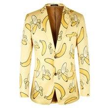 2019 Men Suit Jacket Casual Banana Pattern Fashion Yellow Blazer High Quality Brand Plus Euro Size 44-58