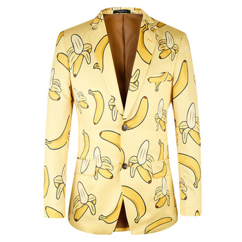 2019 Men Suit Jacket Casual Banana Pattern Fashion Yellow Men Suit Blazer High Quality Brand Jacket Men Plus Euro Size 44-58