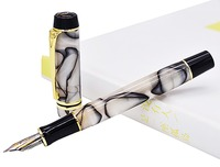 Kaigelu 316 Celluloid Fountain Pen, 22KGP Medium Nib Beautiful Marble Crystal Pattern Ink Pen Writing Gift for Office Business