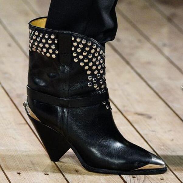 Del Zapatos Negro Cuero Talones Pic Marca Mujeres Genuino Spikes Punta Remaches De Pie Botas Pista Chunky As 42 Mujer Gllitter Dedo Astilla Tamaño wOqgIaAA
