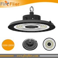 5pcs/lot DLC SAA TUV 100W 120W 150W 200W 130lm/w IP65 commercial and industrial ufo led high bay light fixtures UL CE warehouse