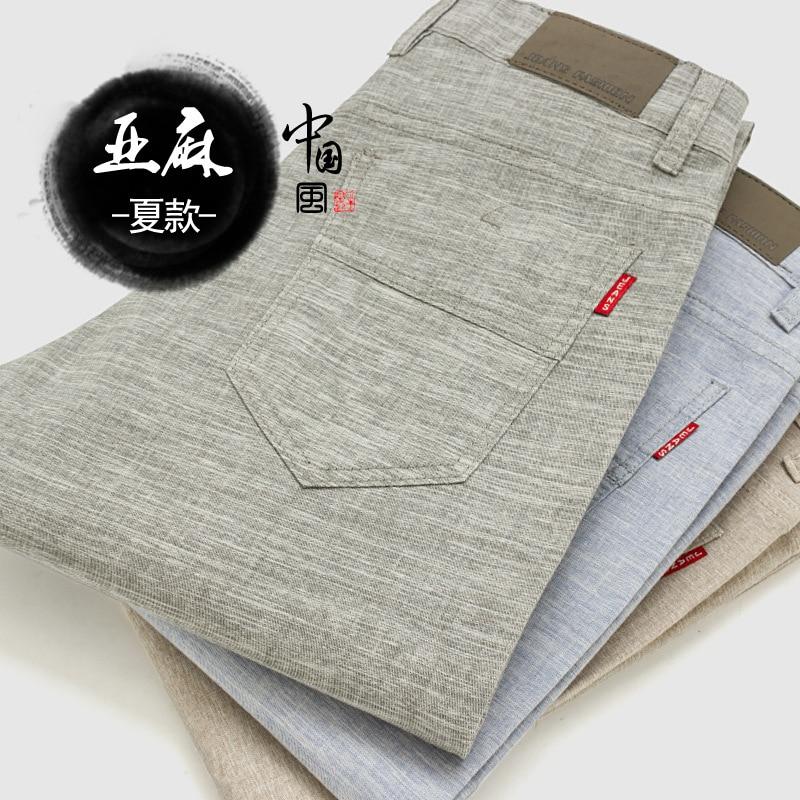 new arrival Summer Casual Linen Pants Men Famous brand Men Long Trousers Mid-Waist Solid Colors Slim Fit Trousers Plus size цена