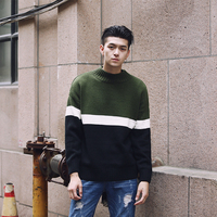 Contrast Green Knit Sweater Sueter Hombre Pullover Sweaters Erkek Kazak Pull Homme Black Green Grey Pink Men Turtleneck Sweater