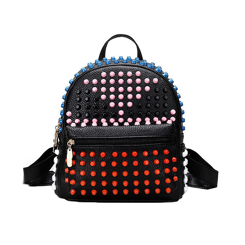 UNstyle New Colorful Rivet Backpacks PU Leather Monster School Bags For Women Fashion Cool Popular Teenagers