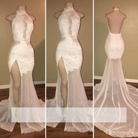 White 2018 Prom Dresses Mermaid Halter Appliques Lace Slit Sexy Party Maxys Long Prom Gown Evening Dresses Robe De Soiree