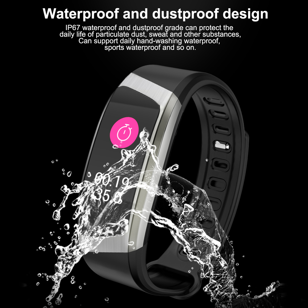 Vwar Smart Band IP67 Waterproof Wristband Blood Pressure Fitness Smart Bracelet Heart Rate Monitor Sport Fitness Bracelet Tracker smartband Mi fit 4 3 activity fitness tracker for Xiaomi Huawei Honor Android IOS Phone