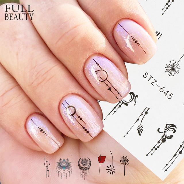1pcs Nail Water Transfer Sticker Linear Flower Pattern Nail Art Decorations Slider For Nail Manicure Watermark Foils CHSTZ645