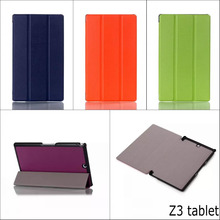 купить Fashion Three folded Stand holder Crazy horse pattern PU Leather cover Case For sony xperia Z3 tablet Compact 8'' with pen дешево