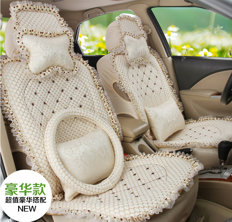 5 pieces / sets 2016 new arrival female car seat cover four season cute girls butterfly lace car seat cover cushion breathable ...