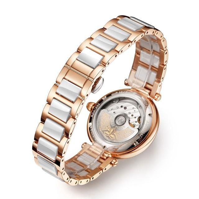 Reef Tiger/RT Top Brand Luxury Women Watch Ceramic Rose Gold Bracelet Diamond Automatic Mechanical Shell Watches Clock RGA1592 5